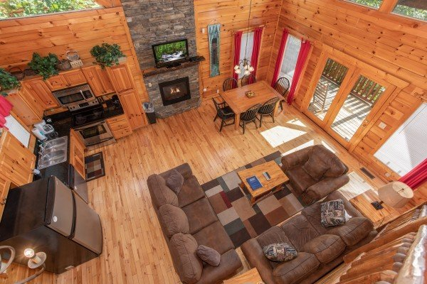 Looking down onto the main floor at Summit View, a 3 bedroom cabin rental located in Gatlinburg