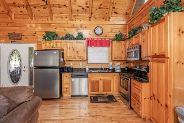 Kitchen with stainless appliances at Summit View, a 3 bedroom cabin rental located in Gatlinburg