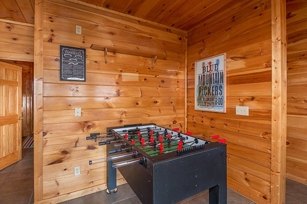 Foosball table in the game room at Ella-vation, a 3-bedroom cabin rental located in Gatlinburg