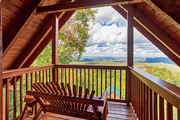 Views from the A-frame upper deck at Ella-vation, a 3-bedroom cabin rental located in Gatlinburg