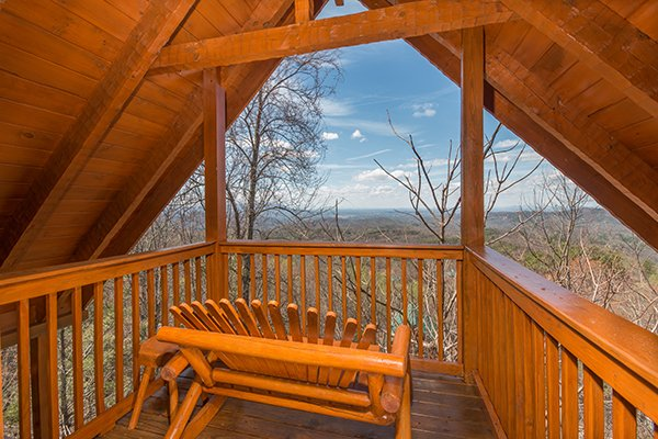 Winter views from the upper level deck at Ella-vation, a 3-bedroom cabin rental located in Gatlinburg