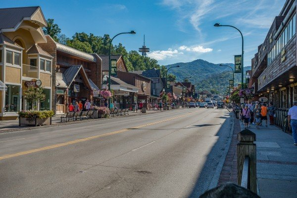 Downtown Gatlinburg is near Trillium Lodge, a 4 bedroom cabin rental located in Gatlinburg