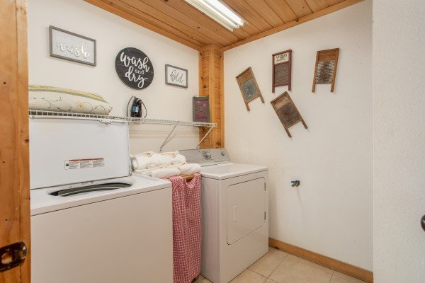 Laundry room at Trillium Lodge, a 4 bedroom cabin rental located in Gatlinburg