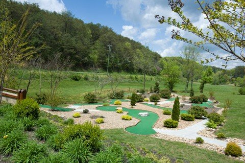Mini golf course access for guests at Lazy Bear Lodge, a 2 bedroom cabin rental located in Pigeon Forge