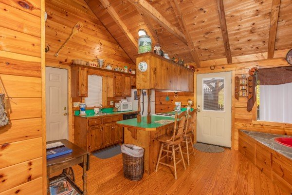 Open concept studio cabin All Shook Up, a 1 bedroom cabin rental located in Pigeon Forge
