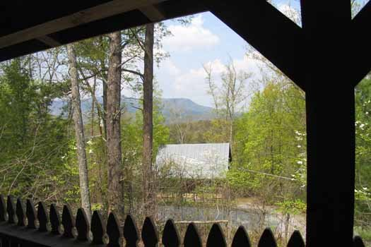 View from the deck at All Shook Up, a 1 bedroom cabin rental located in Pigeon Forge