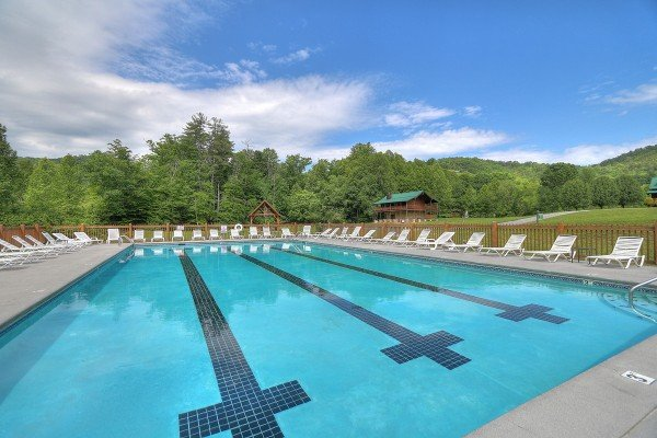 Pool for guests at Heavenly Homestead, a 4 bedroom cabin rental located in Pigeon Forge