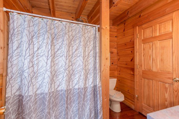 Bathroom with a tub and shower at Enchanted Evening, a 1-bedroom cabin rental located in Pigeon Forge