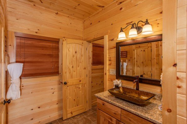 Bathroom with custom vanity at Panorama, a 2 bedroom cabin rental located in Pigeon Forge