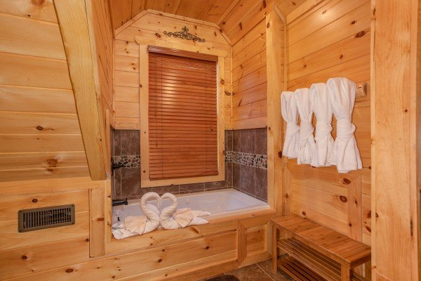Jacuzzi tub in the loft bathroom at Panorama, a 2 bedroom cabin rental located in Pigeon Forge