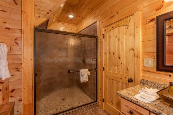 Custom glassed shower at Panorama, a 2 bedroom cabin rental located in Pigeon Forge