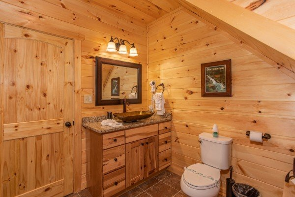 Vanity in the loft bathroom at Panorama, a 2 bedroom cabin rental located in Pigeon Forge