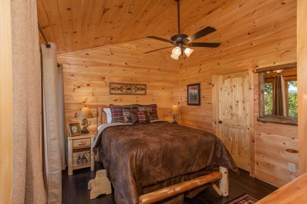 Loft bedroom at Panorama, a 2 bedroom cabin rental located in Pigeon Forge