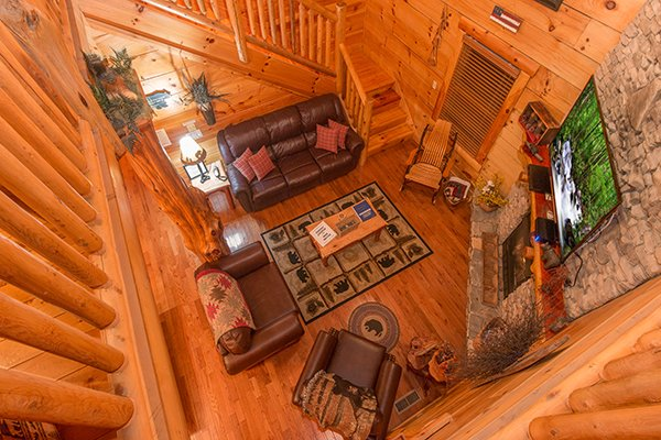 Overhead view of the living room at Bearfoot Paradise, a 3-bedroom cabin rental located in Pigeon Forge