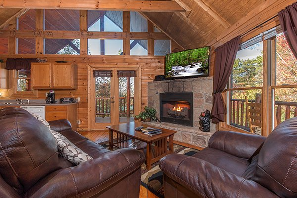 Living room with vaulted ceiling, large windows, fireplace, and TV at Lincoln Logs, a 2 bedroom cabin rental located in Gatlinburg