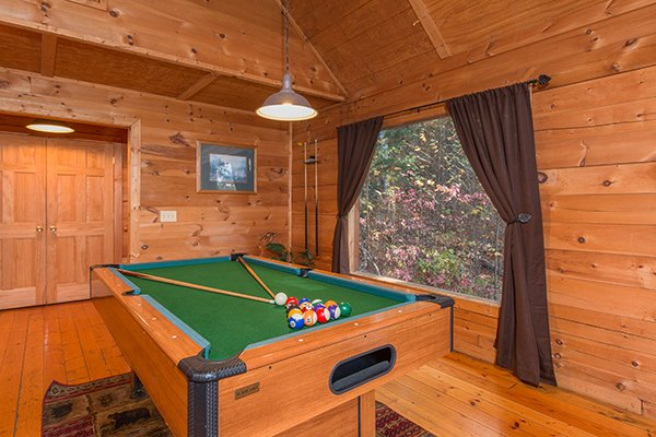 Pool table in the game room at Lincoln Logs, a 2 bedroom cabin rental located in Gatlinburg