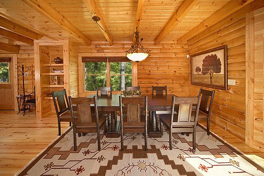 Dining table for eight at Cozy Creek, a 3-bedroom cabin rental located in Pigeon Forge