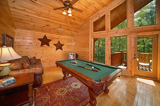 Game room with pool table at Cozy Creek, a 3-bedroom cabin rental located in Pigeon Forge