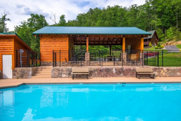 Pool in the common area at Smoky Ridge Resort, home of Cozy Creek, a 3-bedroom cabin rental located in Pigeon Forge