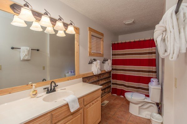 Bathroom at Bushwood Lodge, a 3-bedroom cabin rental located in Gatlinburg