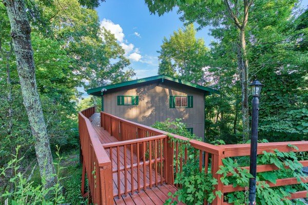Catwalk entrance at Bushwood Lodge, a 3-bedroom cabin rental located in Gatlinburg