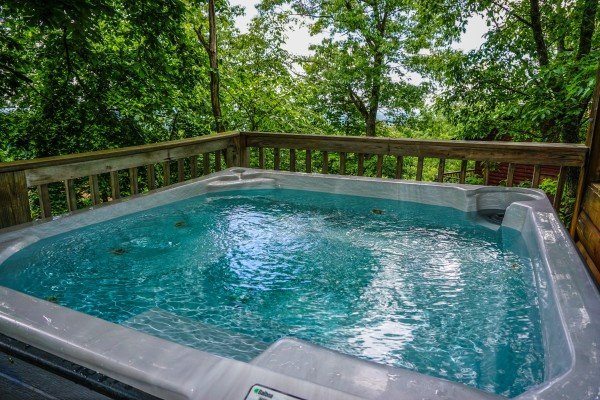 Hot tub at Bushwood Lodge, a 3-bedroom cabin rental located in Gatlinburg