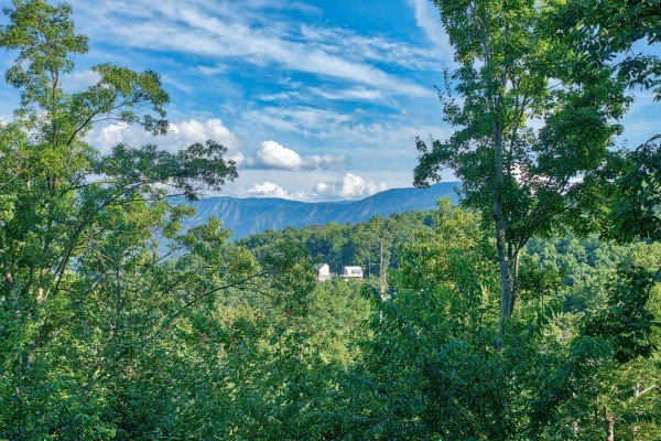 Mountain view framed by trees at Bushwood Lodge, a 3-bedroom cabin rental located in Gatlinburg