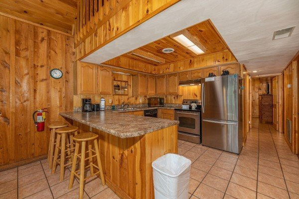 Breakfast bar for 3 at Around the Bend, a 3 bedroom cabin rental located in Pigeon Forge