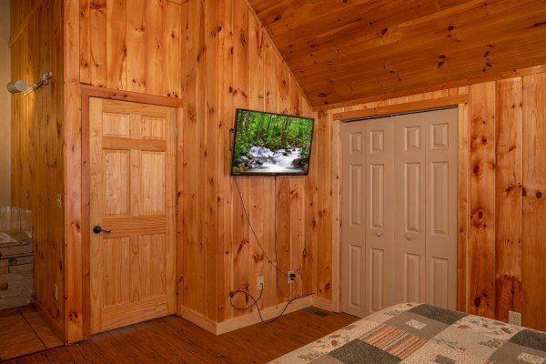 TV in the loft bedroom at Around the Bend, a 3 bedroom cabin rental located in Pigeon Forge