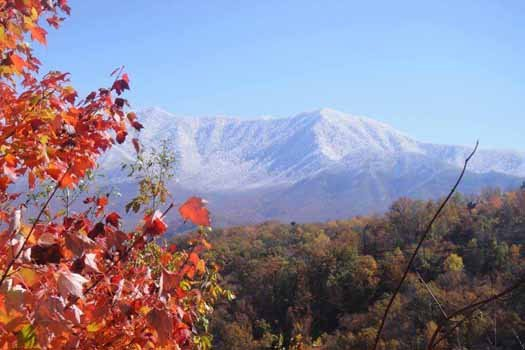 Fall foliage and snow-capped mountains seen from Chalet Mignon, an 8-bedroom cabin rental located in Gatlinburg