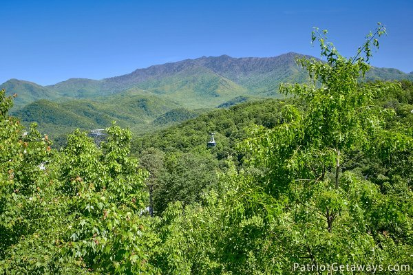 Great Smoky Mountains seen from Chalet Mignon, an 8-bedroom cabin rental located in Gatlinburg