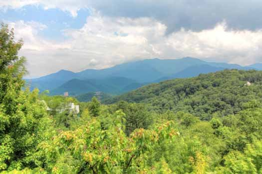 The Smoky Mountains seen from at Chalet Mignon, an 8-bedroom cabin rental located in Gatlinburg