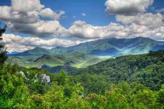 View of the smoky mountains seen from Chalet Mignon, an 8-bedroom cabin rental located in Gatlinburg