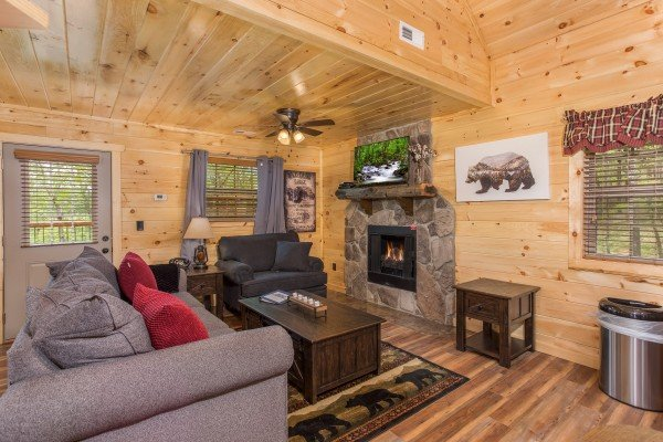 Fireplace and TV in the studio living room at Gatlinburg Treehouse, a 1-bedroom cabin rental located in Gatlinburg