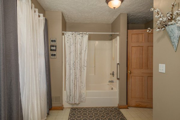 Bathroom with a tub and shower at Bearadise 4 Us, a 3 bedroom cabin rental located in Pigeon Forge