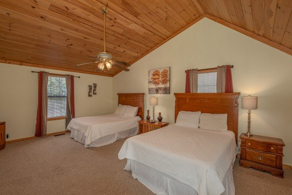 Loft with two full beds at Bearadise 4 Us, a 3 bedroom cabin rental located in Pigeon Forge