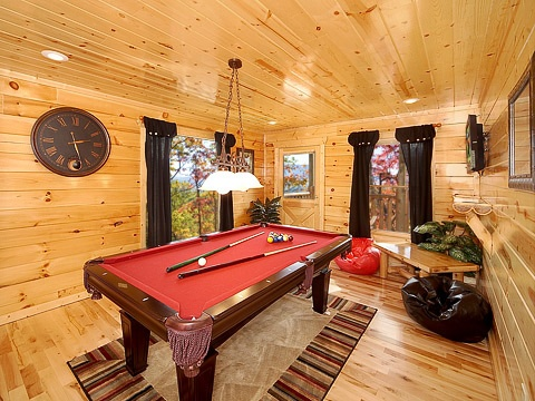 game room with pool table at natural wonder a 4 bedroom cabin rental located in gatlinburg
