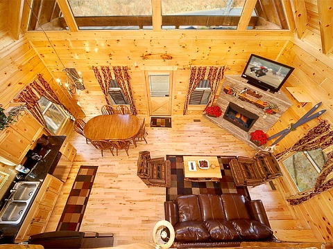 overhead view of living area at natural wonder a 4 bedroom cabin rental located in gatlinburg