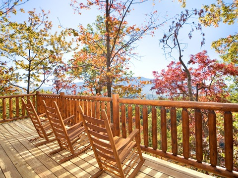 Smoky Mountain view from rocking chairs at Natural Wonder, a 4 bedroom cabin rental located in Gatlinburg