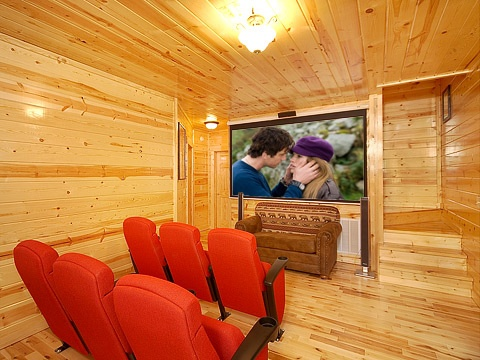 theater room at natural wonder a 4 bedroom cabin rental located in gatlinburg