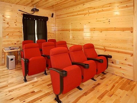 Theater room seats at Natural Wonder, a 4 bedroom cabin rental located in Gatlinburg