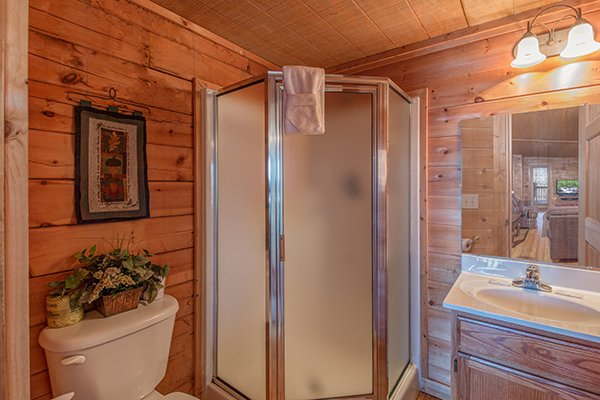 Bathroom with a shower at Sunny Side Up, a 2 bedroom cabin rental located in Gatlinburg