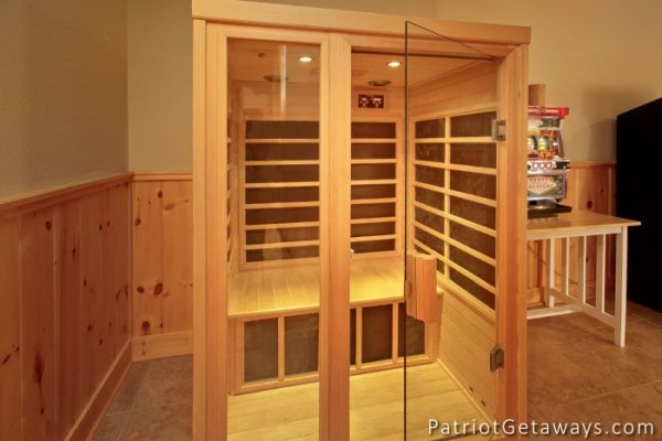 Sauna in the lower level at Taj Mahal, a 3 bedroom cabin rental located in Pigeon Forge