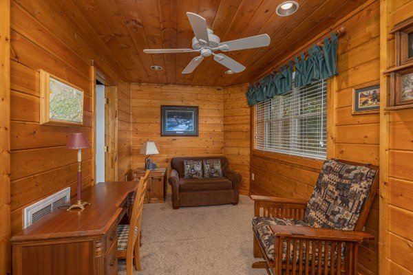 Sleeper sofa at Shiloh, a 3 bedroom cabin rental located in Gatlinburg