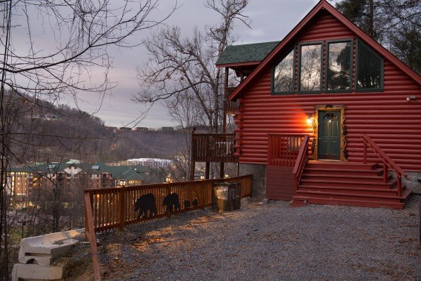 Flat gravel parking at Shiloh, a 3 bedroom cabin rental located in Gatlinburg