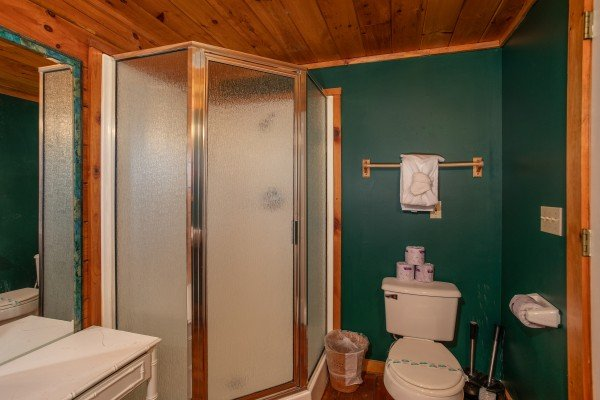 Bathroom on the main floor at Shiloh, a 3 bedroom cabin rental located in Gatlinburg