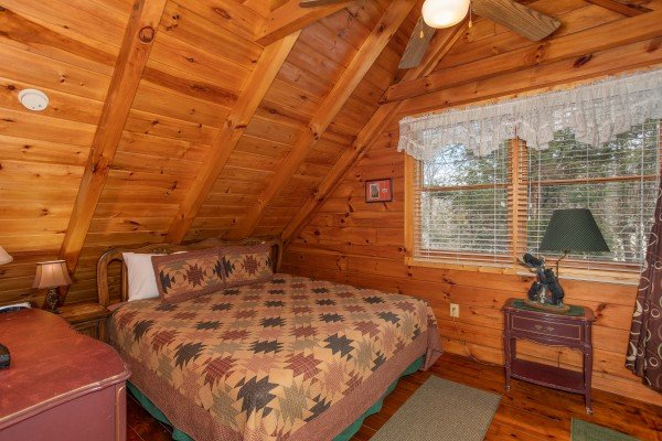 King bedroom in the loft space at Shiloh, a 3 bedroom cabin rental located in Gatlinburg