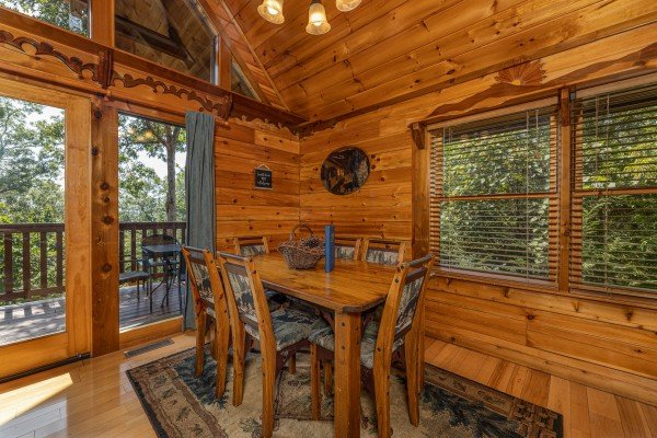 Dining table for six at Private Indulgences, a 2 bedroom cabin rental located in Gatlinburg