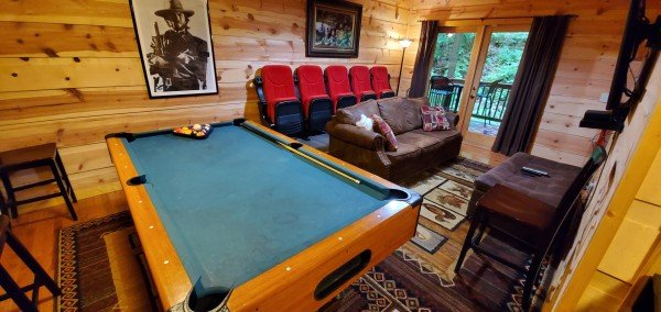 Pool table and theater room at My Smoky Mountain Hideaway, a 3 bedroom cabin rental located in Pigeon Forge
