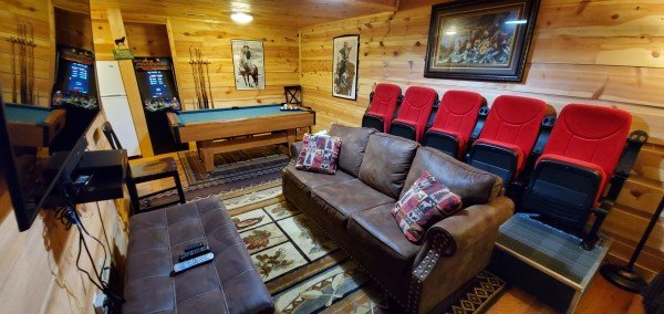 New theater seats added at My Smoky Mountain Hideaway, a 3 bedroom cabin rental located in Pigeon Forge